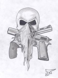skull and guns by altsy on DeviantArt Gangster Drawings, Love Drawings Tumblr, Skull Artwork, Badass Drawings, Sketches, Drawings, Tattoo Design Drawings, Graffiti Drawing, Skulls Drawing