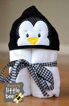 hooded towel applique design penguin. by designsbylittlebee
