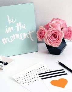See this watercolor typography quote BE IN THE MOMENT DIY and free printable on the Tiny Prints blog. #ontheblog