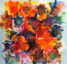 Coffee filter, markers, water.  I've seen this one before, but I really like this version as a collaborative work for kindergarten.