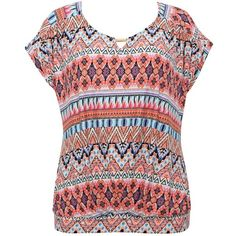 M&Co Plus Aztec Print Top ($12) ❤ liked on Polyvore featuring tops, t-shirts, shirts, pink, plus size, lightweight t shirts, aztec shirt, pink t shirt, plus size t shirts e plus size tops
