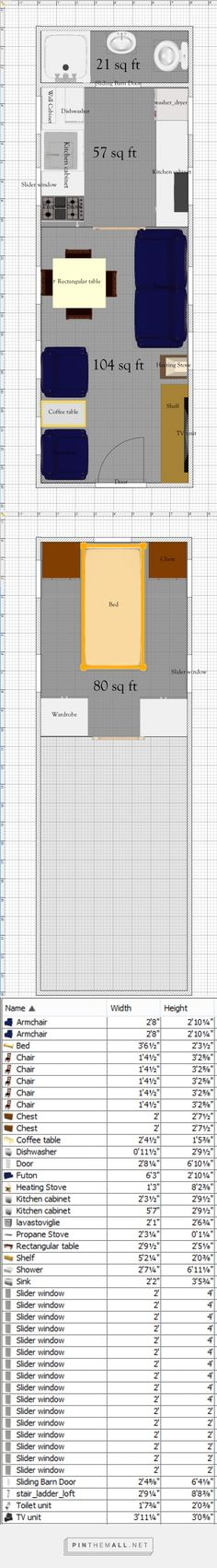 Free Tiny House Floor Plans: 8' x 24' House Plan