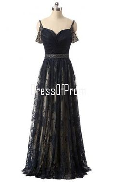 A Line V Neck Lace Tulle Floor Length Beading Black Prom Dress