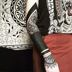 These Striking Solid Black Tattoos Will Make You Want To Go All In - KickAss Things - solid black tattoo for women - Black Sleeve Tattoo, Geometric Sleeve Tattoo, Black Tattoo Cover Up, Solid Black Tattoo, Black Ink Tattoos, Cover Tattoo, Body Art Tattoos, Sleeve Tattoos, Hannya Tattoo