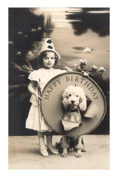 A Vintage Happy Birthday Poodle Card Vintage Poster, Vintage Dog, Vintage Children, Happy Birthday Book, Happy Birthday Vintage, Happy Birthday With Dogs, Happy Birthday Clown, 21 Birthday, Puppy Birthday