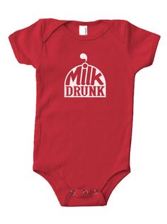"""This baby onesie is hand-drawn and screen printed. The material is cotton and fits babies wearing a 3-6 month size (7 to 15 lbs., chest: up to 14"""" and length: 17 to 24""""). Color is red with a white graphic. $18.00"""