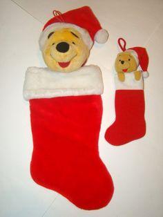 "Lot 2 Disney Winnie the Pooh Bear Plush Stuffed Christmas Holiday Stocking 21"""