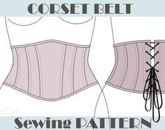 CORSET PATTERN Underbust Belt. S, M and L size. Instant download pdf sewing…