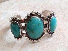 Gem Silica Bracelet Chrysocolla Sterling Silver Cuff Vintage 031116SB #gemsilica #chrysocolla #sterlingsilver #cuff #bracelet #widecuff #vintagejewelry