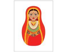 Mariée du Népal Matryoshka Art Print Kids Wall Art par AmyPerrotti