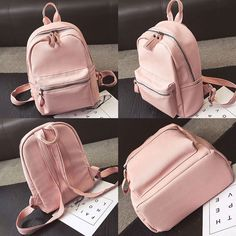 Fashion Chic Lichee Pattern Pure Colors Simple Style PU School Backpack