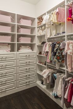 White and pink nursery closet features stacked shelves filled with pink bins over a built-in dresser. Chic baby girl's closet boasts built-in shoe shelves next to triple stacked clothes rails. Little Girl Closet, Baby Girl Closet, Kid Closet, Wardrobe Closet, Closet Bedroom, Closet Ideas, Pink Wardrobe, Closet Tour, Dresser In Closet