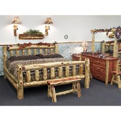 Amish Rustic Cedar Log Cabin Bed ($634) ❤ liked on Polyvore featuring home, furniture, beds, king size bed, cedar log furniture, cedar log bed, queen furniture and king bed