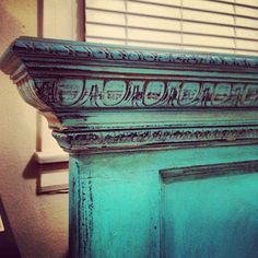 Good Junque: Old Door repurposed into Headboard, painted turquoise with dark glaze