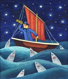 Star Gazey Sky. Layered illustration in acrylics with silver enamel painted sardines, real canvas sail, string as ropes and sequin stars. Inspired by the Cornish 'Star Gazey Pie' which has fish sticking out of a pie crust.