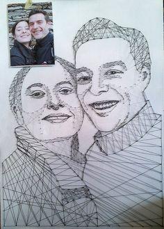 """J+Lo"" Nagel und Faden, 2012, 50x70 Nail and Thread, 2012, 50x70cm"