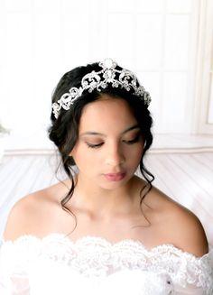 Crystal Bridal tiara Swarovski Wedding crown with white opal crystals Bridal hair accessory Modern Vintage tiara crown Royal Wedding tiara by on Etsy Bridal Tiara, Bridal Crown, Bridal Jewellery, Wedding Jewelry, White Opal, White Gold, Tiaras And Crowns, Crystal Wedding, Bridal Hair Accessories