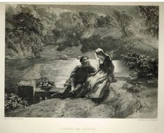 """Fine Art - """"LORENZO AND JESSICA"""" by P.F. Poole (Engraved by T. Sherratt) - Steel Engraving - c1840"""