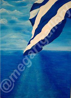 Artist: Rigatou Maria Title: Aegean Sea   50x60 dim oil painting 450euro Coast Guard Boats, Sarakiniko Beach, Dana Villas, Cruiser Boat, Cruise Excursions, Santorini Island, Greece Islands, Blurred Background, Yellow Painting