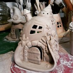 Shop will be open again by the mid of May. Clay Houses, Ceramic Houses, Clay Fairy House, Fairy Houses, Paper Clay, Clay Art, Pottery Houses, Clay Fairies, Play Clay