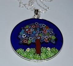 Necklace TREE of LIFE Silver 1.5 Inch MURRINE in Murano Glass JEWEL MORBIDEIDEE