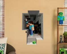 3D Minecraft themed wall decal will be a fabulous birthday Party decor for minecraft gamer, fantastic playroom decoration. Amazing design like a hole