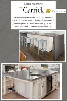 Introducing Carrick, one of the newest additions to the Magnificent 7 line by Cambria. Offering the durability and ease of while maintaining a classic solution for any or Kitchen Redo, New Kitchen, Kitchen Remodel, Kitchen Dining, Kitchen Things, Kitchen Ideas, Cambria Quartz Countertops, New Countertops, Dark Gray Backsplash