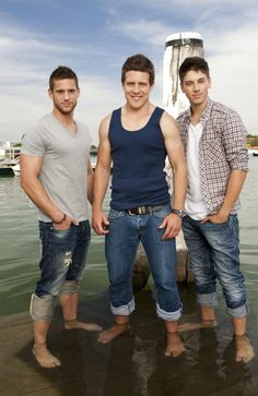 Summer Bay's surfer bad boys (left to right) Daniel Ewing, Steve Peacocke and Lincoln Younes.