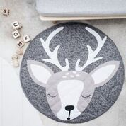 DEER PLAYMAT The newest member to join our playmat tribe, our Deer playmat is perfect for Christmas! Featuring the cutest face in shades of grey, she is sure to become a new favourite in your house all year round. Mats are 1m, with perfect padding for squishy little bums