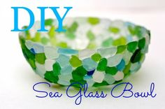 DIY Sea Glass Bowl http://debisdesigndiary.com/diy-sea-glass-bowl/ <-Tutorial Make this easy sea glass bowl with glue and plastic sandwich wrap. Fun video tutorial! you can also use glass marbles or half marbles