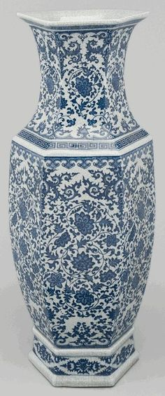 blue and white asian decor | Asian Decor: Blue and White Porcelain Vase from Beijing, China