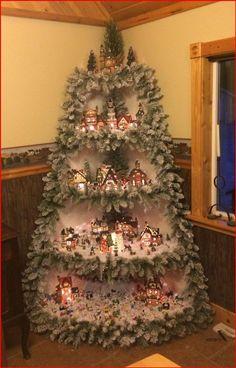 Christmas Tree Village Display, Corner Christmas Tree, Creative Christmas Trees, Christmas Villages, Noel Christmas, Christmas Projects, Christmas Ornaments, Christmas Mantles, Silver Christmas