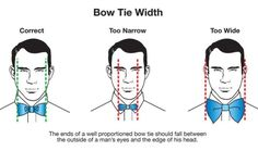 And make sure that your bowtie is the right width. | 16 Style Charts Every Groom Should See Before The Wedding