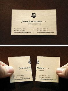 Divorce attorney's business card