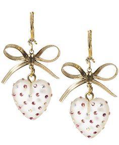 Betsey Johnson Earrings, Heart and Bow Drop Earrings - Fashion Earrings - Jewelry & Watches - Macy's