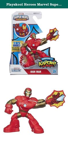 Playskool Heroes Marvel Super Hero Adventures Iron Man Figure. Your little guy will become one of the Masters of Kapow as he trains alongside his Iron Man figure! When he pushes on this armored superhero figure's head, it triggers repulsor action! Give your little hero his own superhero smasher with this Iron Man figure! Playskool and all related characters are trademarks of Hasbro. Marvel products are produced by Hasbro under license from Marvel Characters B.V.