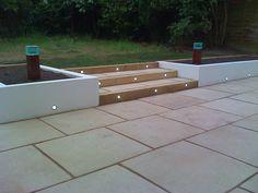 Ideas For Patio Garden Wall Back Garden Design, Backyard Garden Design, Diy Garden, Backyard Landscaping, Small Back Garden Ideas, Modern Garden Design, Patio Steps, Garden Steps, Garden Wall Lights