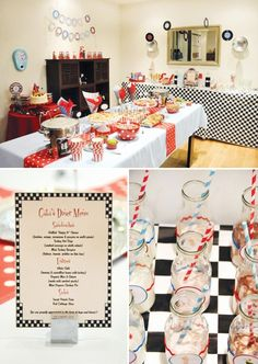 Retro Diner-Inspired Birthday Party. I like the whole 50s theme idea, with greasy cheeseburgers, milkshakes and all. #50sparty #sockhop #partycheap