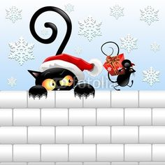 #Christmas #Black_Cat and #Mouse