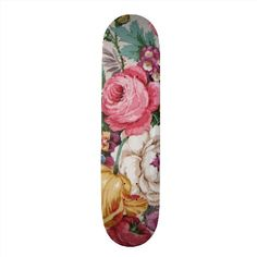 Colorful Vintage Girly Roses Painting Floral Skate Boards