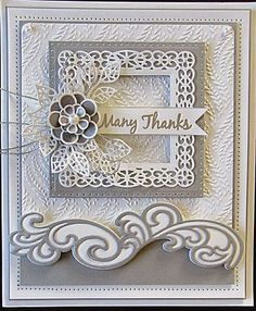 Gorgeous card using Sue Wilson dies. Sue Wilson, Spellbinders Cards, Marianne Design, Pretty Cards, Creative Cards, Flower Cards, Greeting Cards Handmade, Anniversary Cards, Scrapbook Cards