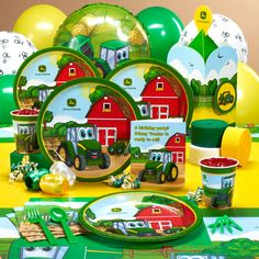Celebrate your kid's birthday in style with Johnny Tractor Party Supplies! Your child will feel the joy of learning to enrich the land they love while partying with Johnny Tractor and his hard working friends. This is the perfect birthday theme for fans of John Deere, all things agricultural, and Johnny Tractor!