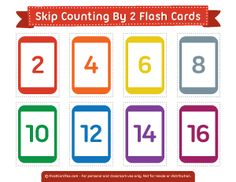 Printable Skip Counting by 2 Flash Cards Number Flashcards, Flashcards For Kids, Kids Math Worksheets, Free Printable Flash Cards, Printable Numbers, Skip Counting By 5, Math For Kids, Maths, Math Games