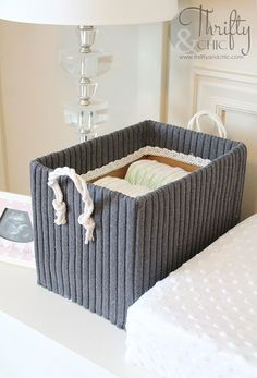 Diy storage boxes from shoe boxes and old sweaters // Tároló doboz megunt pulóverből // Mindy - craft tutorial collection // Cardboard Box Storage, Cute Storage Boxes, Large Cardboard Boxes, Easy Storage, Storage Ideas, Storage Crates, Storage Containers, Wooden Boxes, Old Pillows