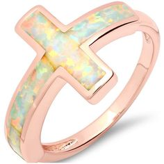 Ladies Opal Cross Ring 6 2 mm Opal Brass Statement Under 1/10 ct Brass... ($13) ❤ liked on Polyvore featuring jewelry, rings, jewelry & watches, rose gold opal ring, red gold ring, pink gold jewelry, pink gold rings and rose gold ring