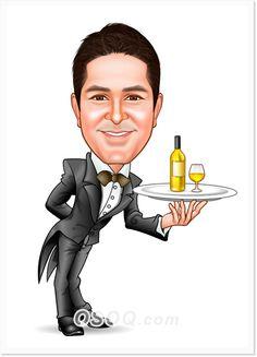 Restaurant Waiter Caricature