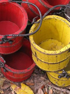 buckets, the older the better... its better to reuse, its chic, its responsible, its good for the planet.. look at flea markets thrift stores, yard sales, for unique containers.  remember you already have those saved mason jars to place inside. so anything can work for a container cause it doesn't have to hold the water and if you use dried no water needed.. happy fall
