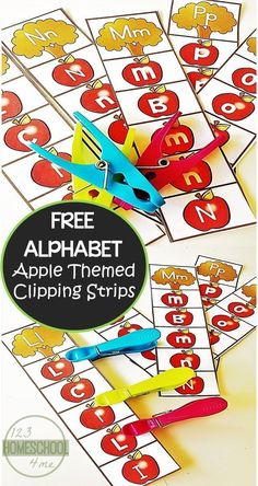 Online homeschool math FREE Apple Alphabet Clip Cards for preschool, prek, kindergarten age kids to practice their letters with a fun fall activity Preschool Apple Theme, Fall Preschool, Kindergarten Literacy, Kindergarten Apples, Preschool Apples, Letter Recognition Kindergarten, Preschool Seasons, Kindergarten Colors, Letter Activities