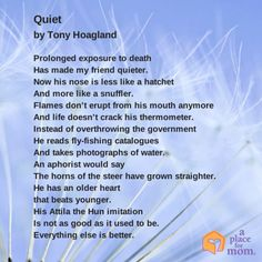 Poet Tony Hoagland tells us that with age comes a silent confidence and peace. Read more inspirational tips, poems and quotes.