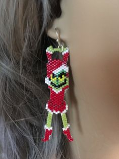 Hand Beaded Hanging Grinch Earrings Christmas by FaeryWolfsFancies